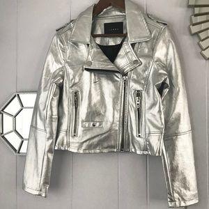 Blank NYC Moto Pleather Silver Metallic Jacket S